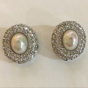 Authentic Dior silver faux pearl  clip earrings